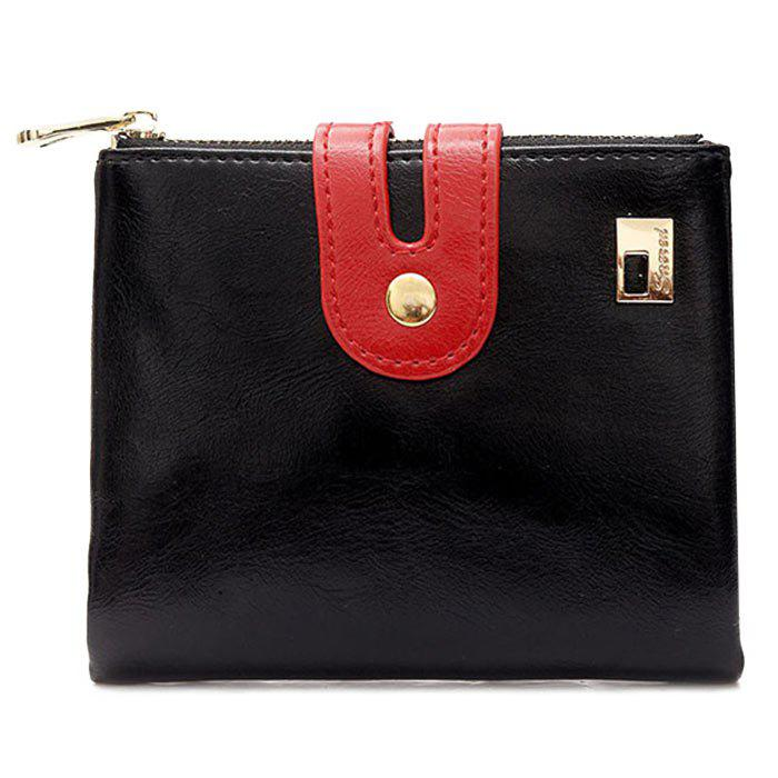 Color Block PU Leather Bifold Wallets - BLACK