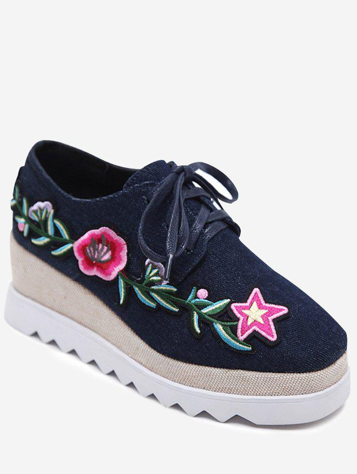Denim Embroidered Wedge Shoes - DEEP BLUE 37