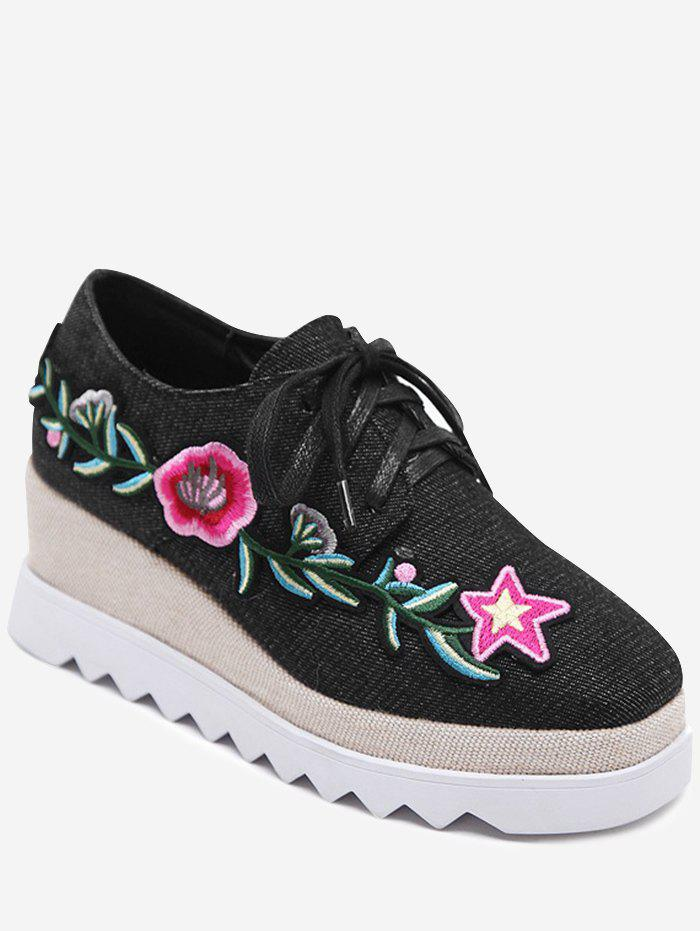 Denim Embroidered Wedge Shoes - BLACK 38