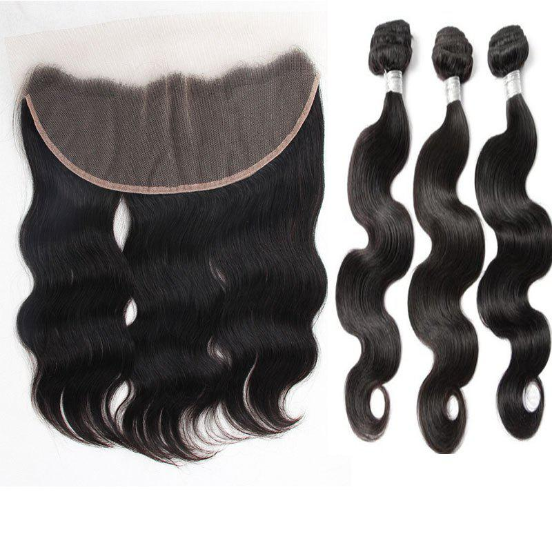3Pcs/Lot 5A Remy Indian Long Free Part Body Wave Human Hair Weaves - NATURAL BLACK 12INCH*14INCH*16INCH