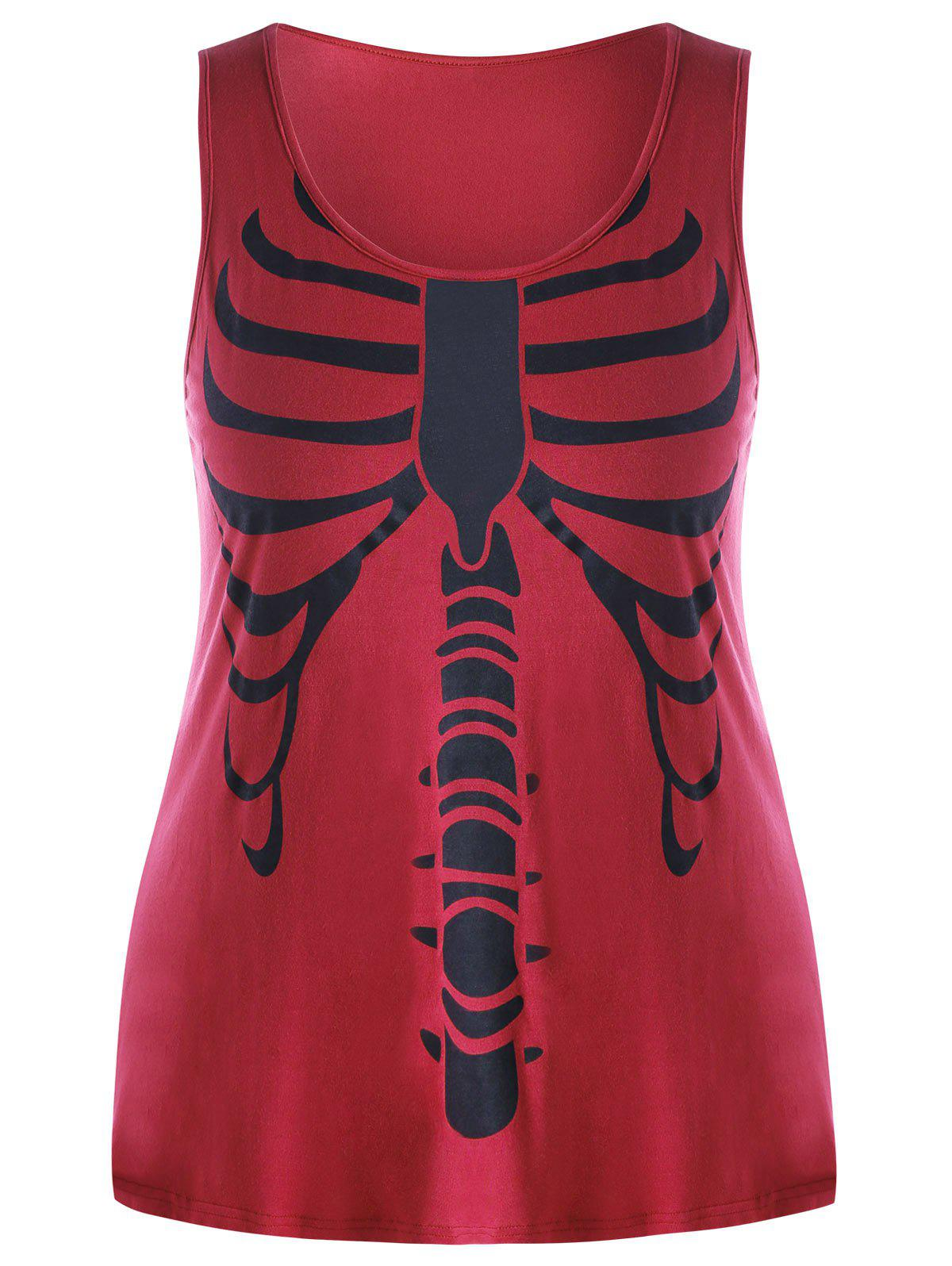 Plus Size Skeleton Tank Top - RED 2XL