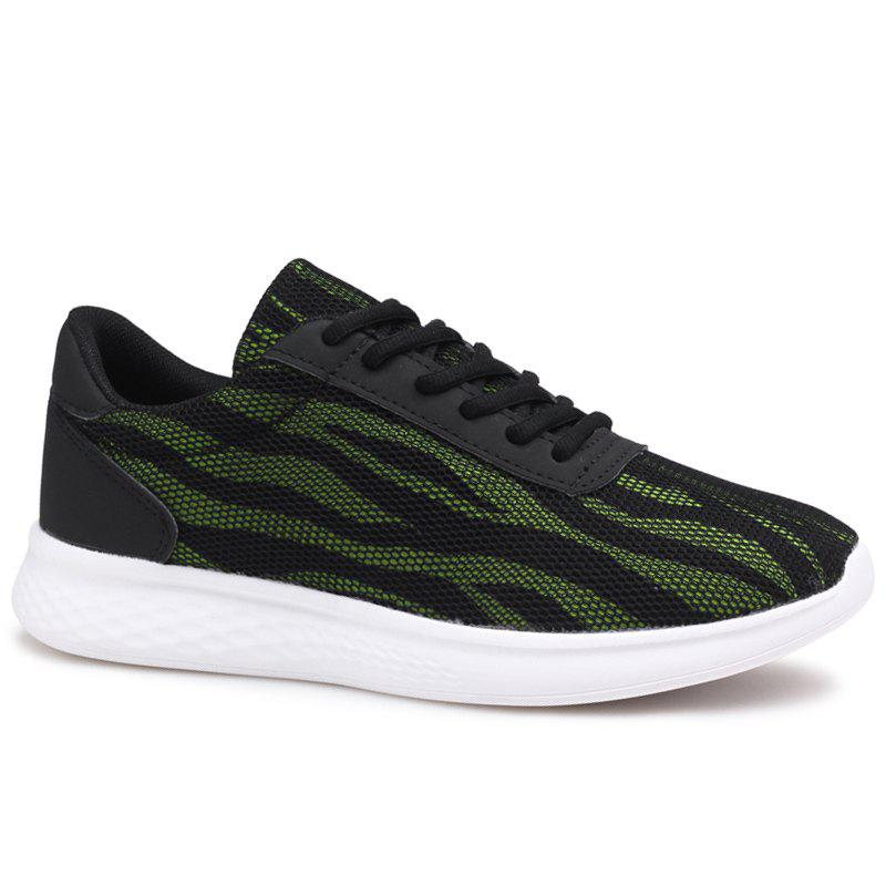 Tie Up Color Block Mesh Sneakers - [