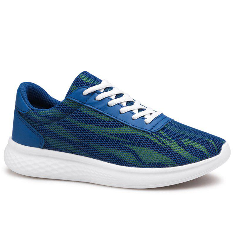 Tie Up Color Block Mesh Sneakers - Bleu 41