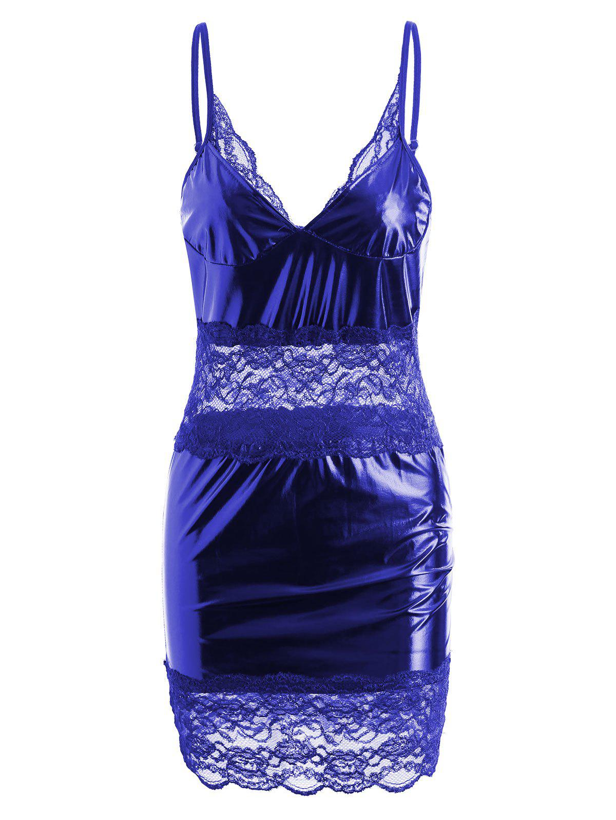 Lace Insert Sheer Slip Club Dress - BLUE L