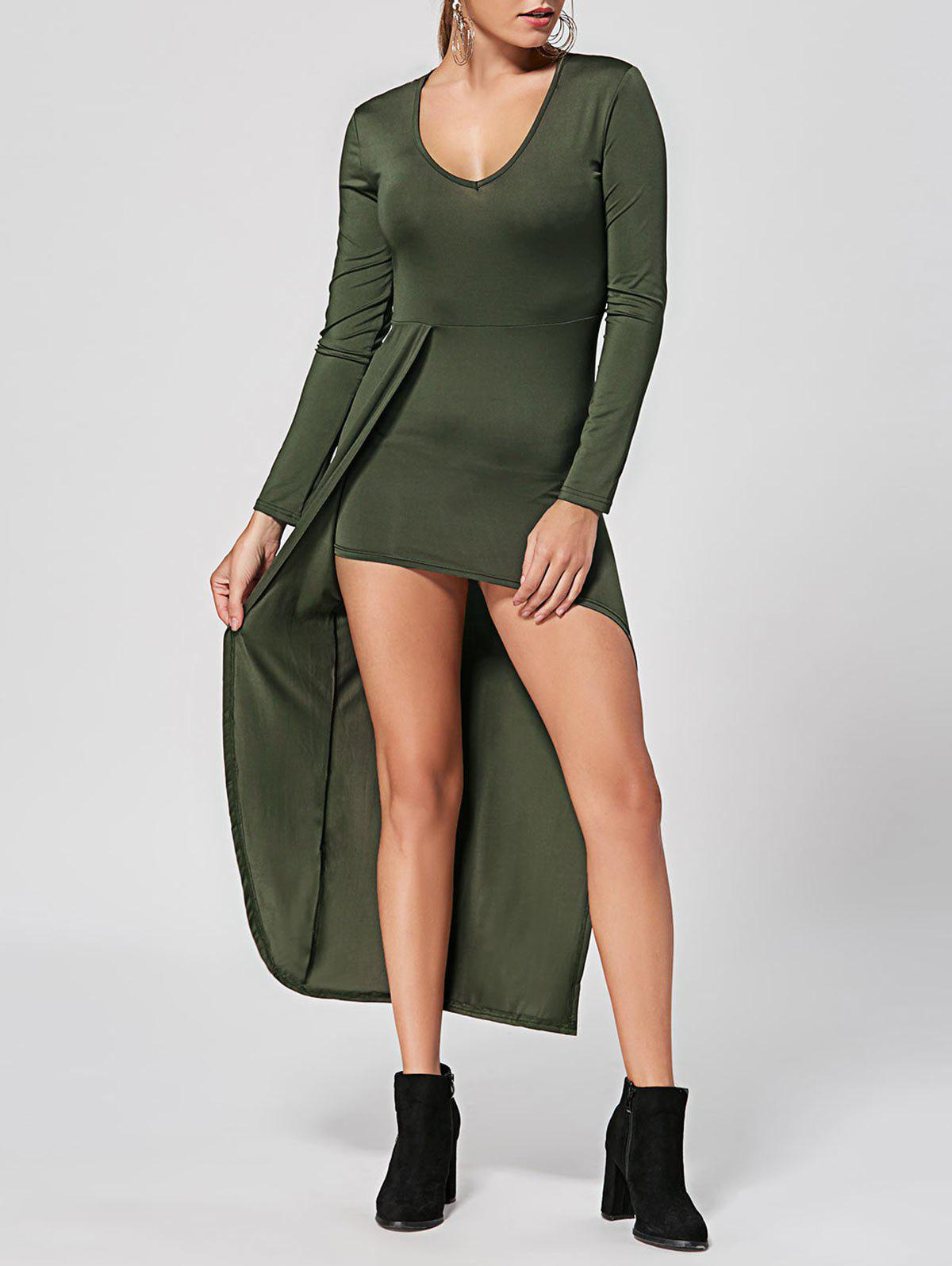 V Neck High Low Club Dress - Vert Armée S
