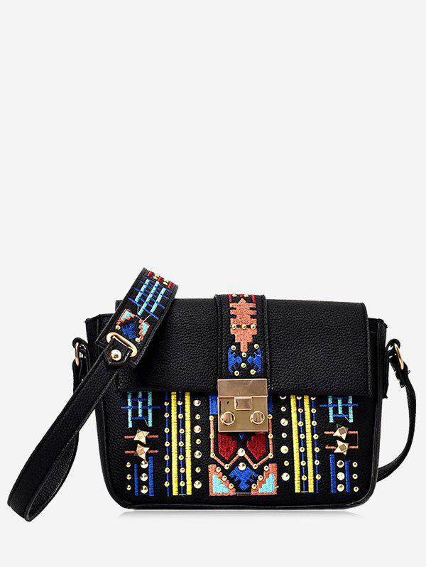 Rivets Embroidery Crossbody Bag - BLACK