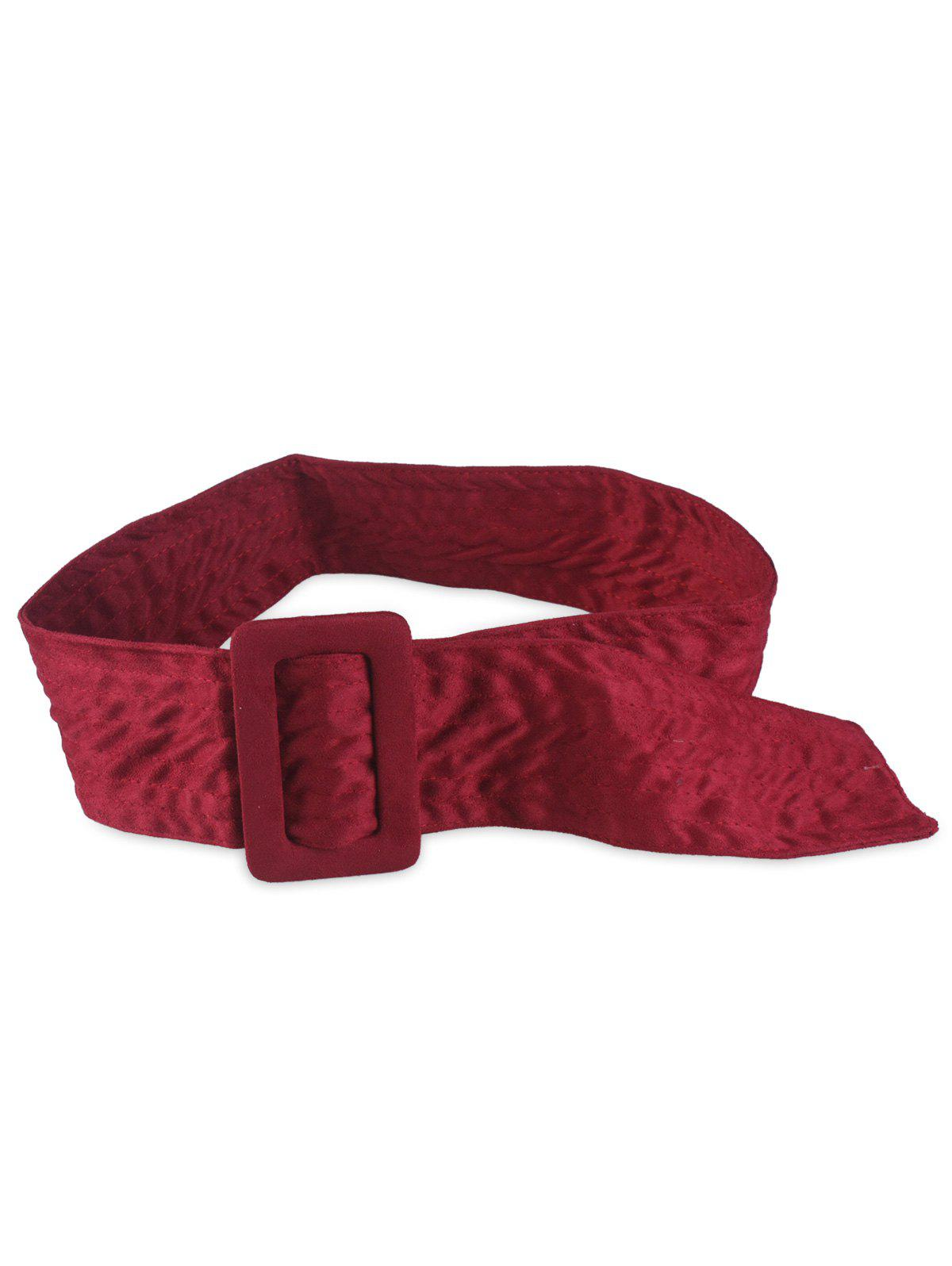 Rectangle Buckle Wide Faux Suede Waist Belt - BURGUNDY