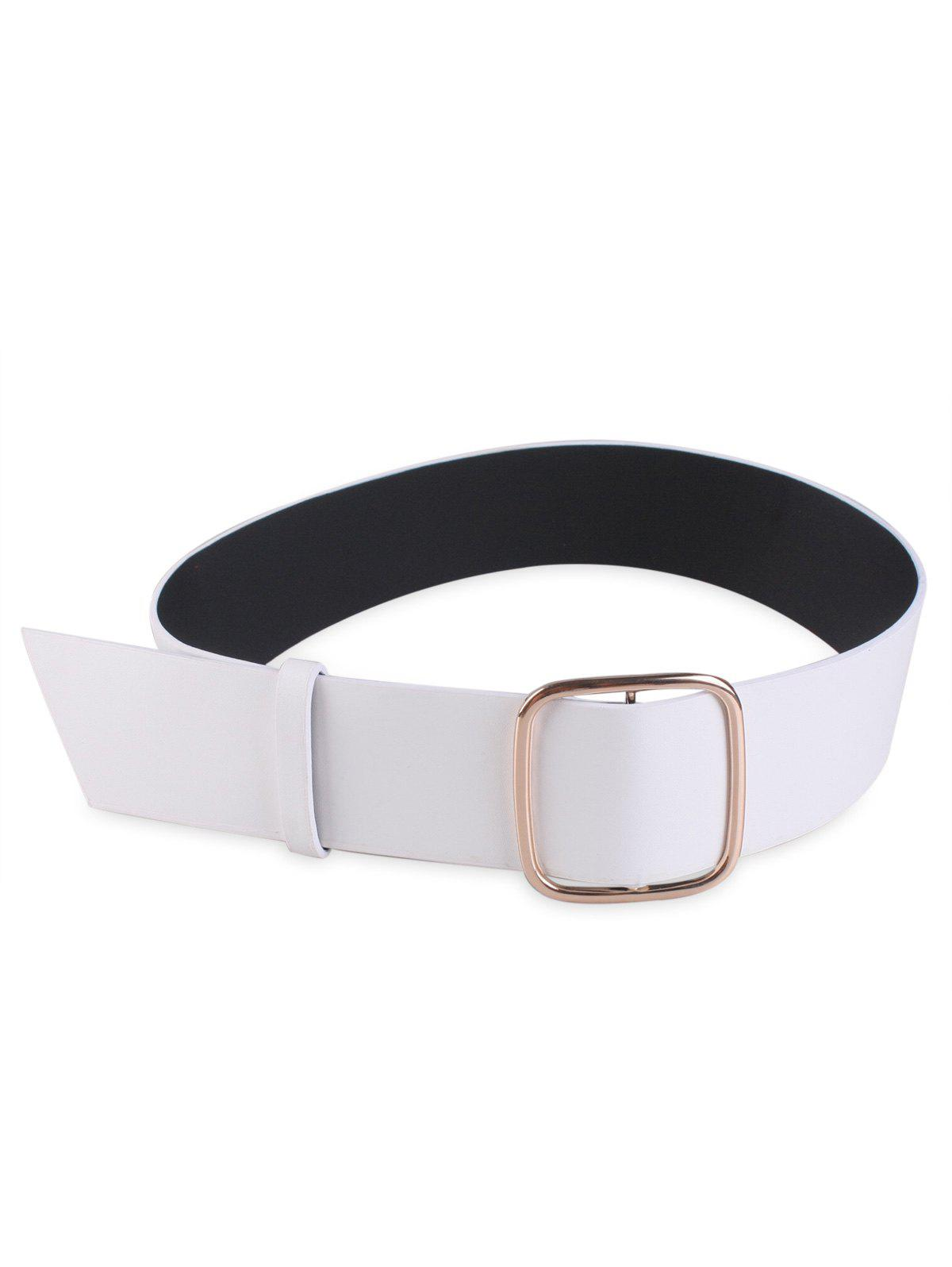 Artificial Leather Rectangle Buckle Wide Coat Belt - WHITE