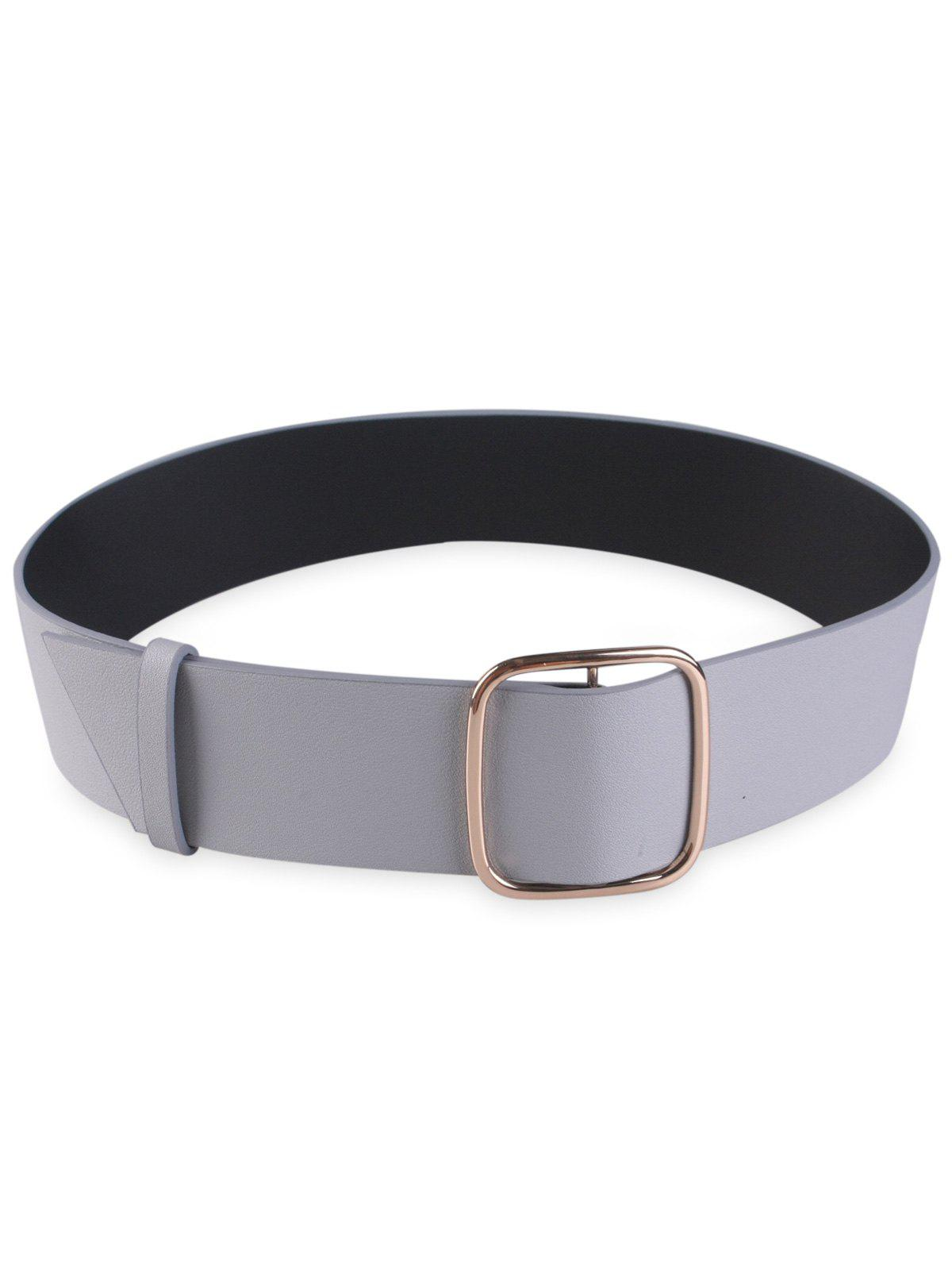 Artificial Leather Rectangle Buckle Wide Coat Belt - GRAY