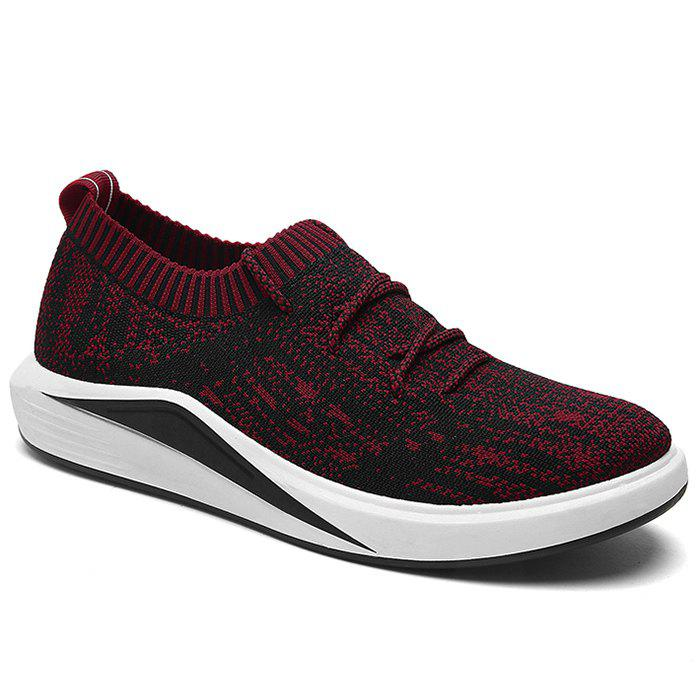 Tie Up Flyknit Casual Shoes - RED 43