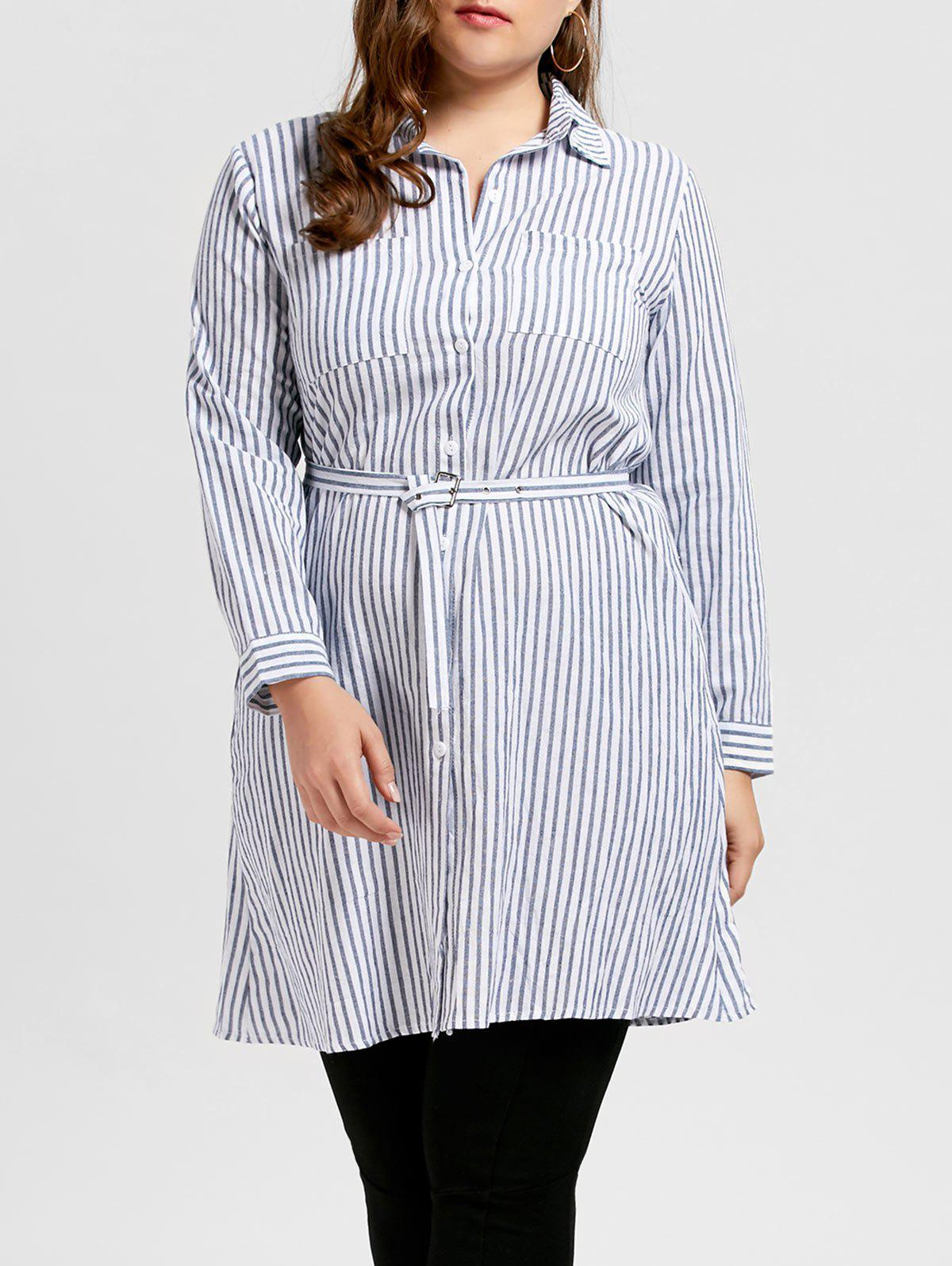 Plus Size Striped Belted Longline Shirt q and q q702 202