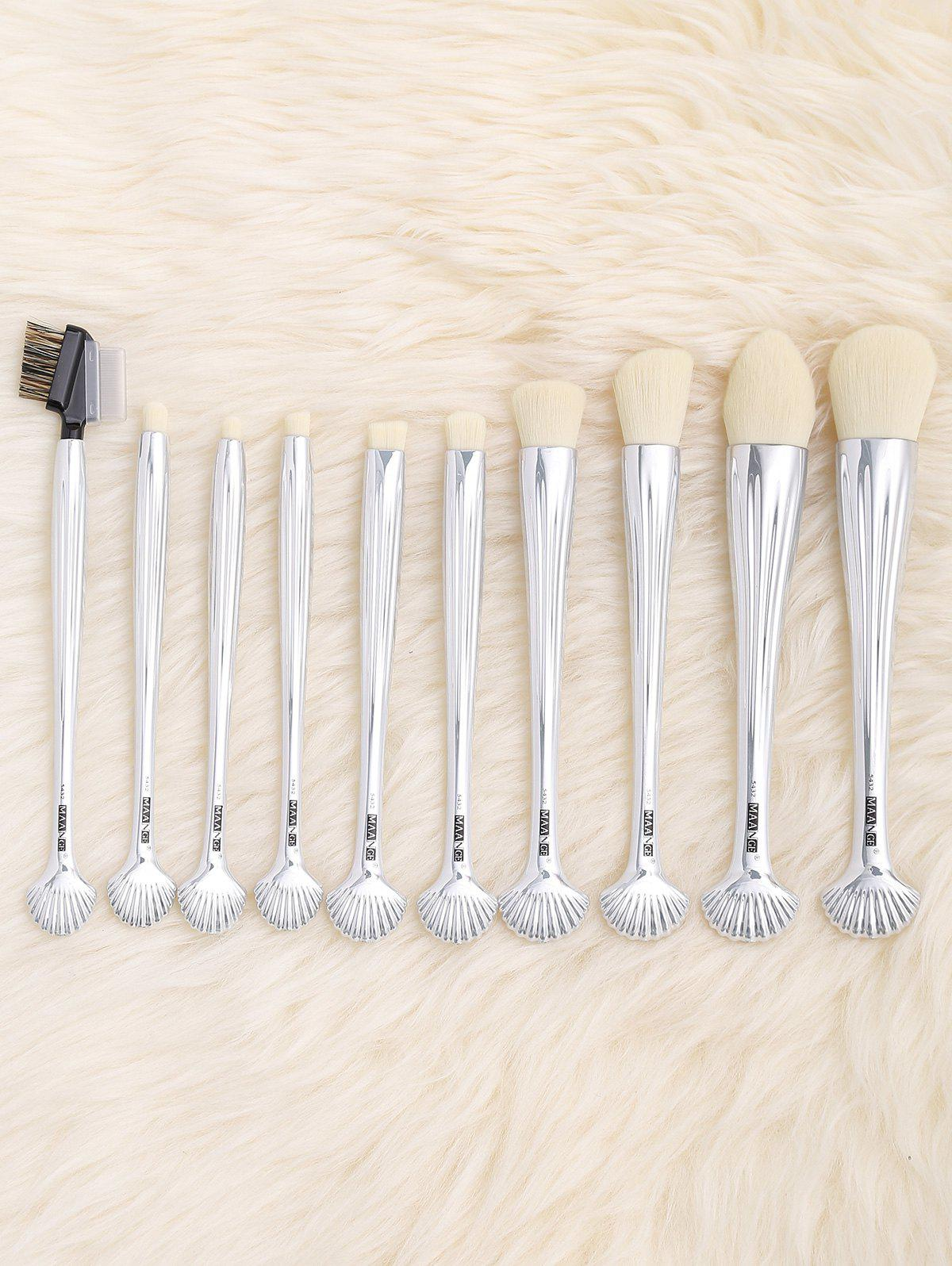 10Pcs Multifunction Gradient Color Shell Design Brushes Set - SILVER WHITE