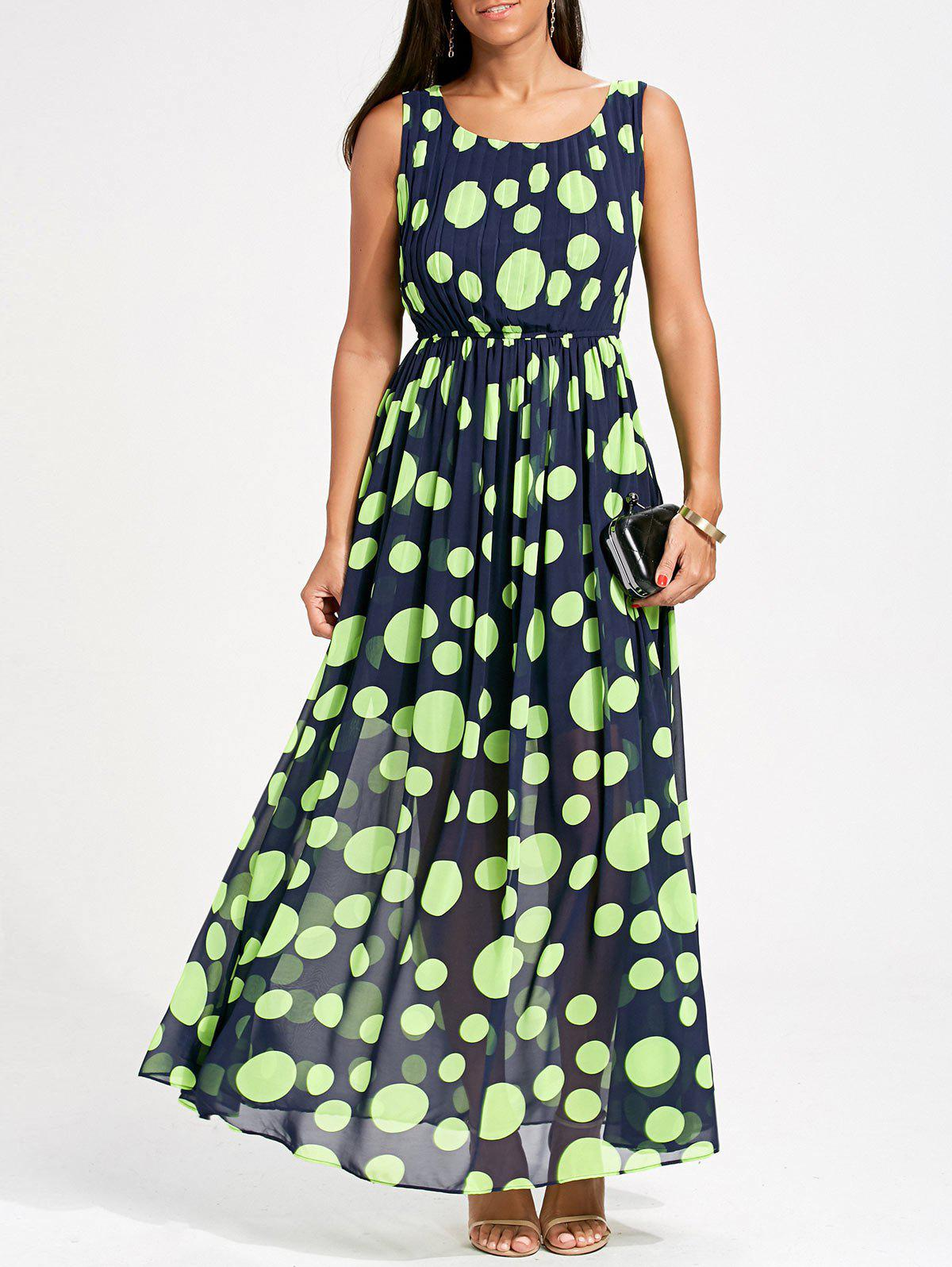 Polka Dot Maxi Swing Dress - NEON GREEN M