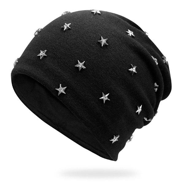 Rhinestone Pentagram Rivet Beanie tiny rivet embellished knitting beanie