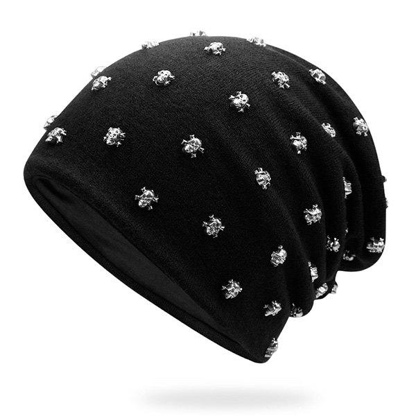Tiny Skull Rivet Warm Beanie tiny rivet embellished knitting beanie