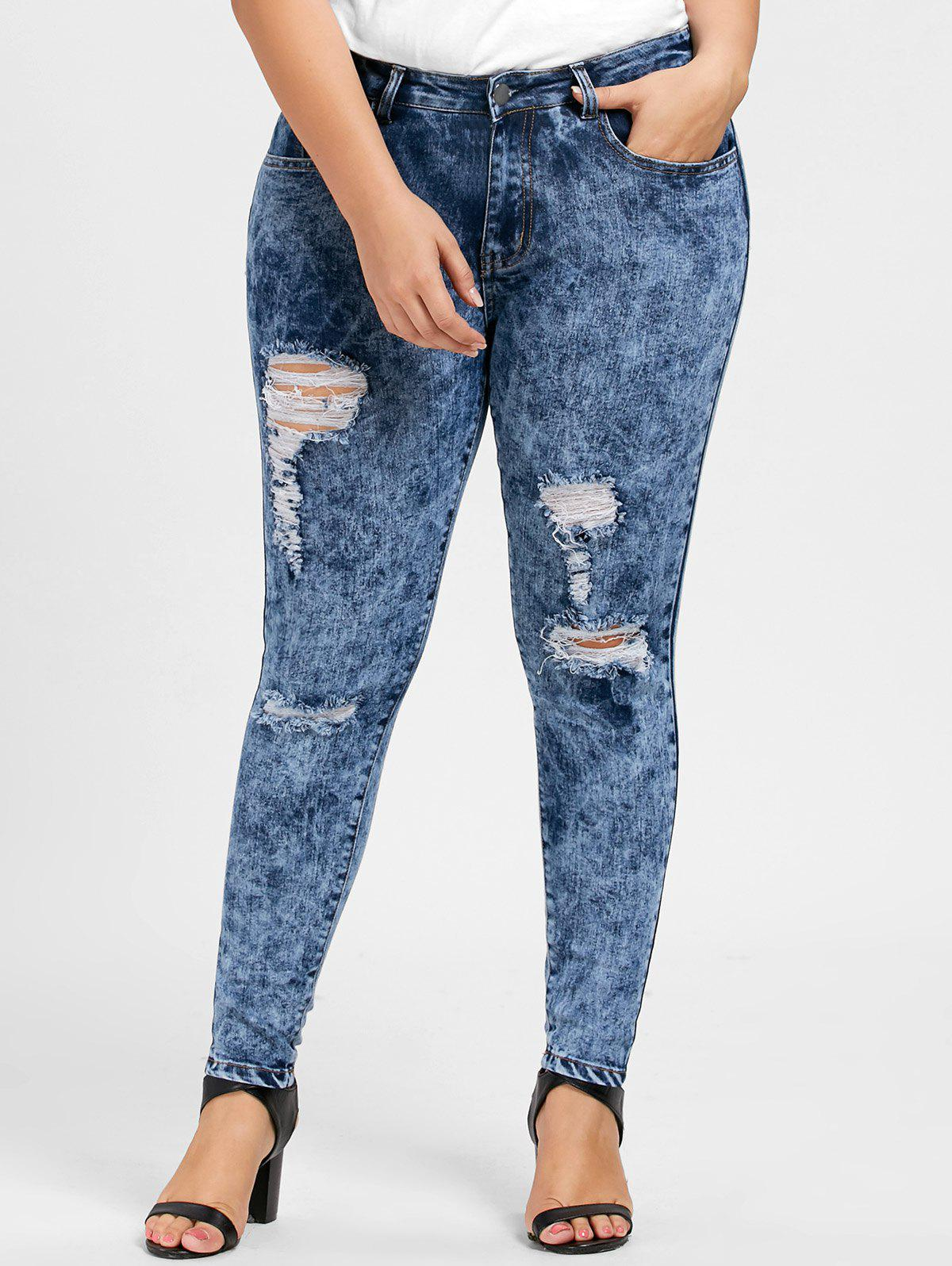Plus Size Ripped Skinny Zipper Jeans chic women s ripped skinny jeans