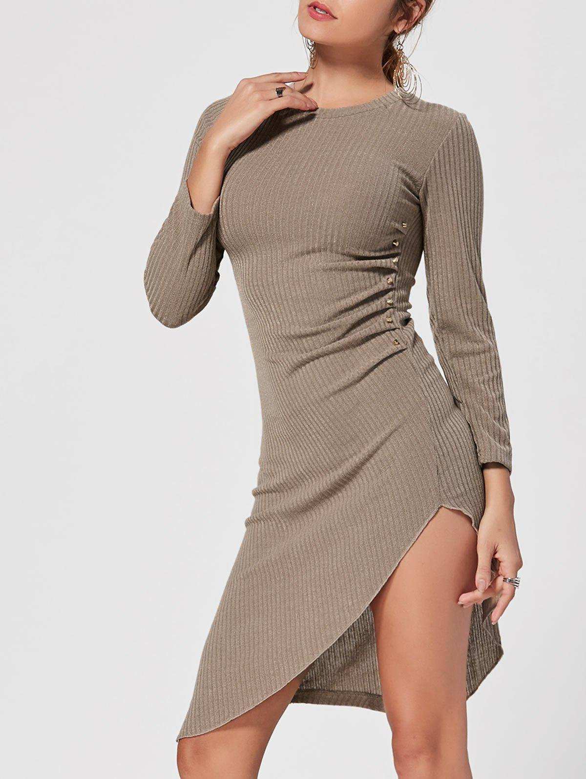 Crew Neck Asymmetrical Mini Bodycon Knit Dress - KHAKI L