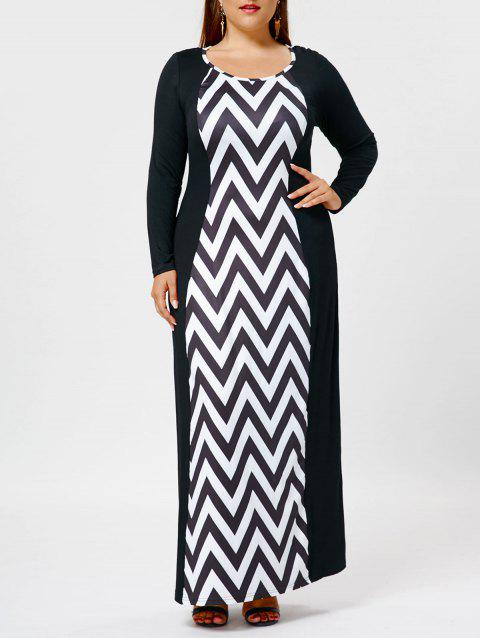 5e67d899f9 41% OFF] 2019 Long Sleeve Plus Size Chevron Maxi Dress In BLACK ...