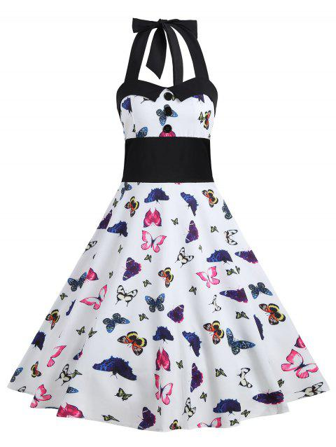 a37410fc24 41% OFF  2019 Butterfly Print Halter Vintage A Line Dress In RED S ...