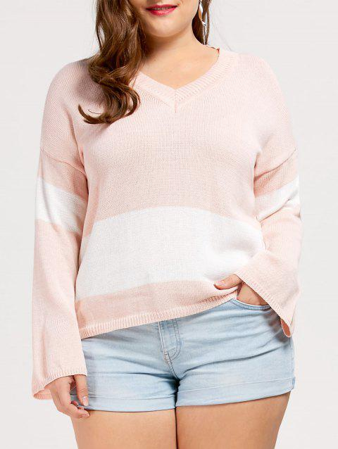 Plus Size V Neck Drop Shoulder Tunic Sweater - SHALLOW PINK ONE SIZE