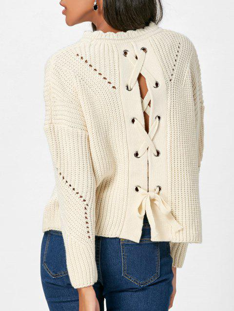 Back Lace-up Drop Shoulder Sweater - OFF WHITE ONE SIZE