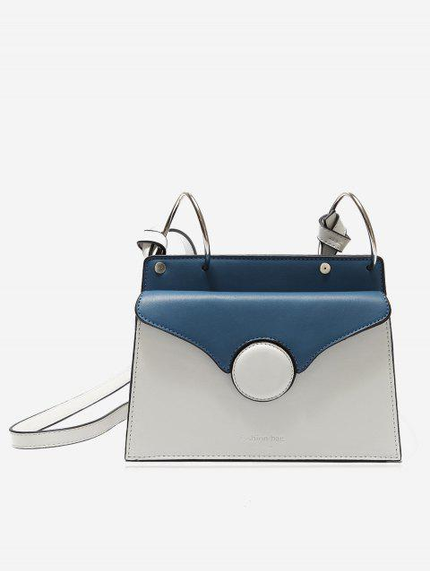 Metal Rings PU Leather Crossbody Bag - WHITE