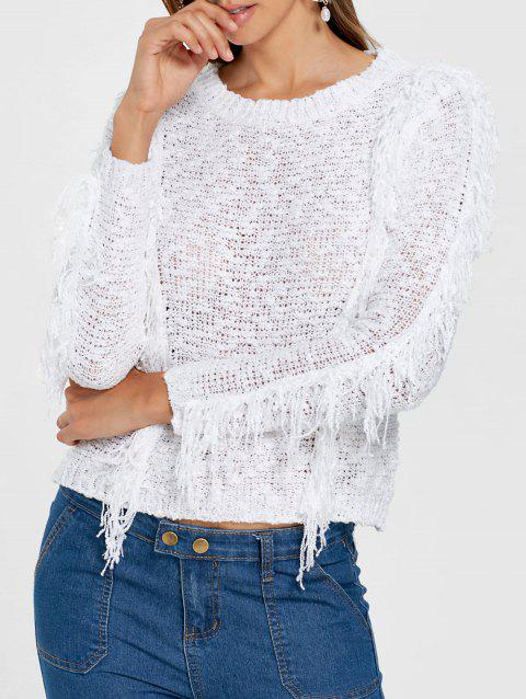 0fb645ecec 41% OFF  2019 Open Knit Fringe Sweater In WHITE