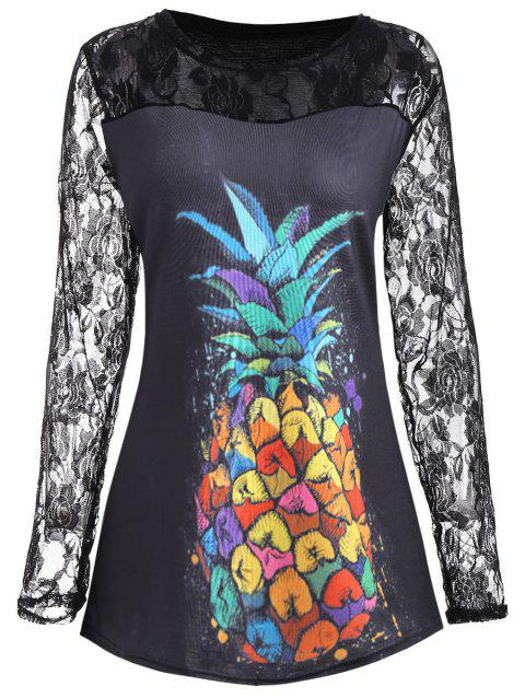 09672ef2331 17% OFF  2019 Plus Size Pineapple Print Floral Lace Insert Tee In ...
