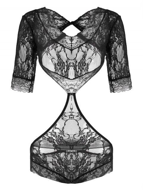 Lace See Thru Cut Out Teddy - BLACK M