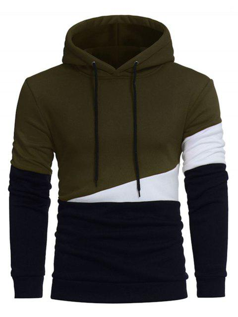 Color Block Panel Drawstring Pullover Hoodie - ARMY GREEN M