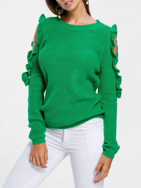 Frill Cold Shoulder Sweater - GREEN XL
