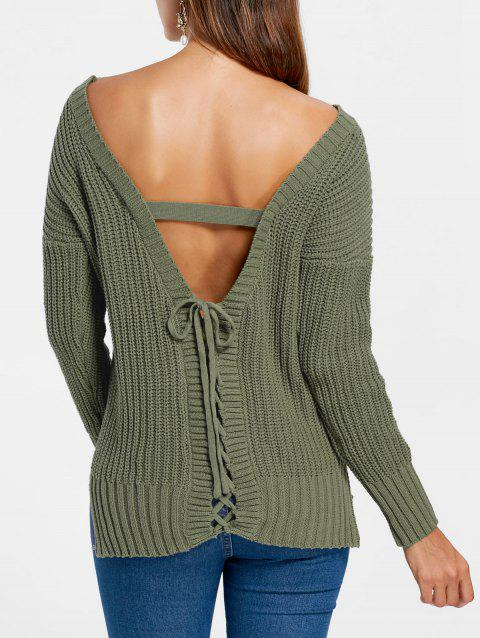 Slash Neck Open Back Pull - Hampton vert M