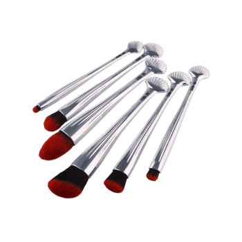 6Pcs Shell Design Plating Multipurpose Makeup Brushes Set - Noir Rouge