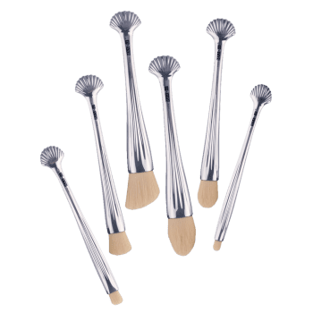 6Pcs Shell Design Plating Multipurpose Makeup Brushes Set - WHITE