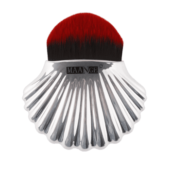 Shell Shape Fiber Hair Plating Foundation Brush - RED/BLACK