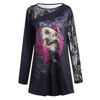 Lace Insert Floral Skull Halloween Plus Size T-shirt