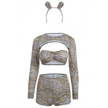 Cropped Leopard Sexy Halloween Costume - BLACK LEOPARD PRINT ONE SIZE