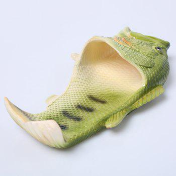 Fish Shaped Plastic Slippers - GREEN GREEN