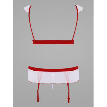 Mesh Bralette Nurse Cosplay Costume - WHITE M