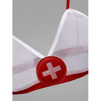 Mesh Bralette Nurse Cosplay Costume - WHITE L