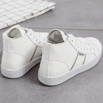 Faux Leather High Top Casual Shoes - WHITE 39