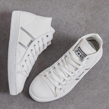 Faux Leather High Top Casual Shoes - WHITE 40