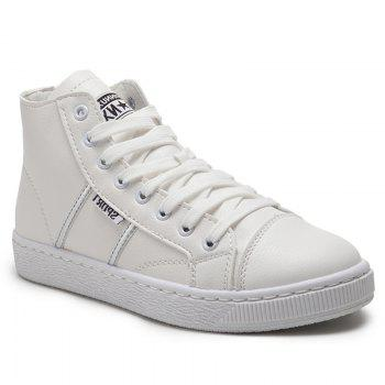 Faux Leather High Top Casual Shoes - WHITE 37