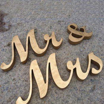 Wedding Decor Glitter Wooden Mr And Mrs - GOLDEN