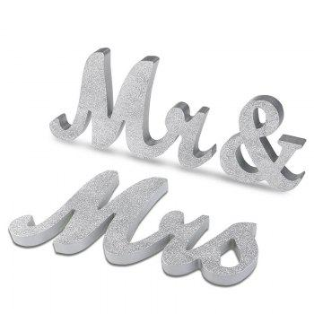 Wedding Decor Wooden Glitter Powder Mr And Mrs - SILVER SILVER