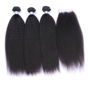 3Pcs/Lot 7A Remy Long Fluffy Kinky Straight Indian Human Hair Weaves - BLACK BLACK