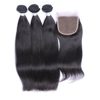 3Pcs/Lot 7A Remy Long Silky Straight Indian Human Hair Weaves - BLACK BLACK