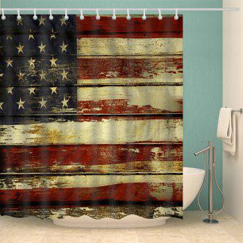 Distressed American Flag Shower Curtain - COLORMIX W71 INCH * L79 INCH