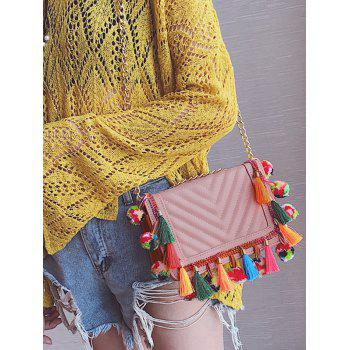 Stitching Chain Tassels Crossbody Bag - LEATHER PINK