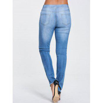 Skinny Ripped Frayed Ninth Jeans - BLUE XL